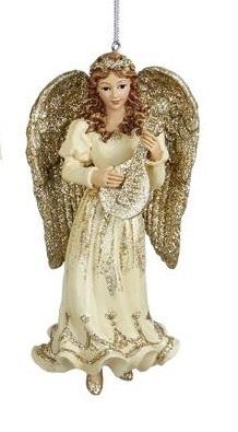 Gouden Cocktailjurk.Sierlijke Engel In Roomkleurige Gouden Jurk Met Gouden Vleugels En